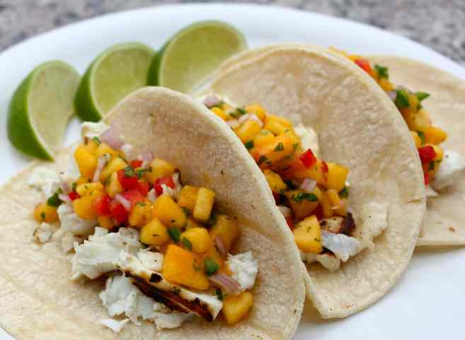 Grilled Halibut Tacos with Peach Salsa