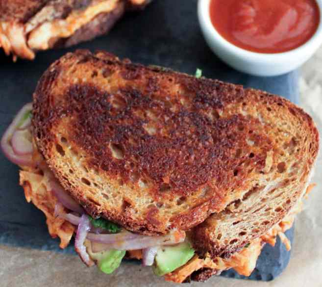 Barbecue-Chicken-Grilled-Cheese-with-Avocado-Cilantro-and-Red-Onion-5