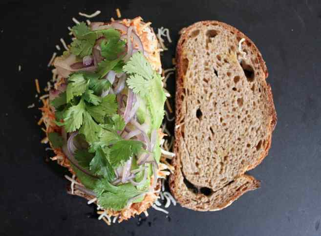 Barbecue-Chicken-Grilled-Cheese-with-Avocado-Cilantro-and-Red-Onion-step-7