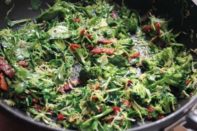 healthy-bacon-fried-brown-rice-with-broccoli-wilted-greens-and-egg-step-5