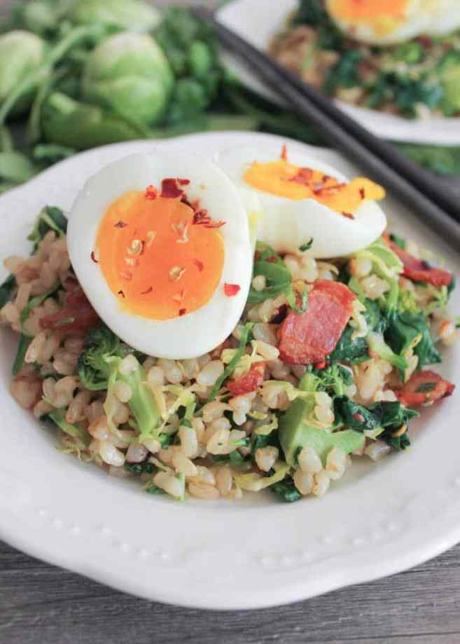 healthy-bacon-fried-brown-rice-with-wilted-greens-and-egg
