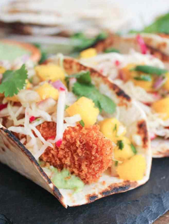 Crispy Fish Tacos with Mango Salsa and Avocado Salsa Verde ...