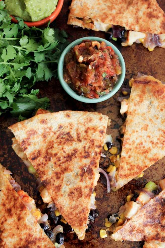Spicy-Chicken-Quesadillas-with-Corn-Black-Beans-and-Caramelized-Onions