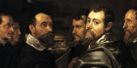 Self-portrait in a circle of friends from Mantua