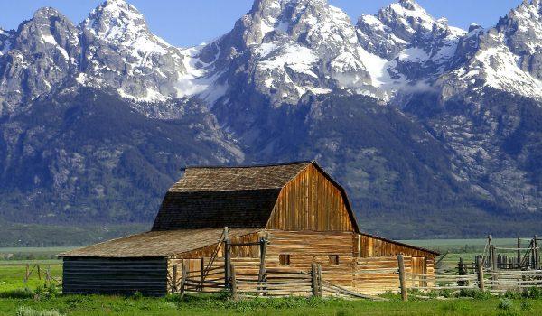 The John Moulton Barn on Mormon Row at the base of the Grand Tetons, Wyoming