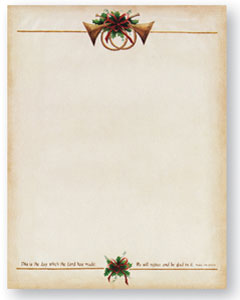 """Antique Horns -- Holiday Stationery -- 8 1/2"""" x 11"""" -- 100 Sheets"""
