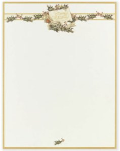 """Vintage Christmas Holly -- Holiday Stationery -- 8 1/2"""" x 11"""" -- 100 Sheets"""