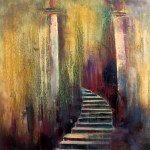 Irish Art - Stairway to heaven Oil Painting - Angkor Watt - the temple steps lead the way to a higher existence, to the Gods, to Buddha, a place of prayer in a sacred temple