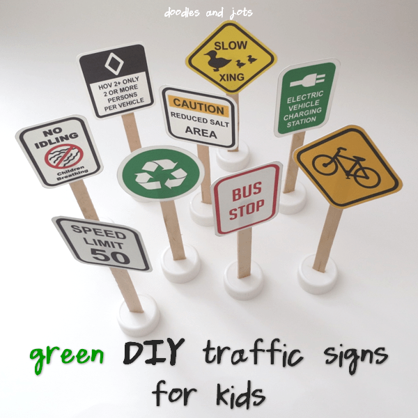green DIY traffic signs for kids