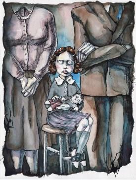 """Family Portrait I. Mixed media; 8""""x 10""""."""