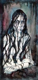 """The Well Witch (illus. for """"Well Witched"""" by Frances Hardinge). 21"""" x 9""""; mixed media"""