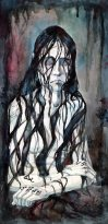"The Well Witch (illus. for ""Well Witched"" by Frances Hardinge). 21"" x 9""; mixed media"