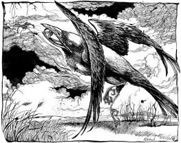 "Lionhead Ring (illus. for September Tale by Neil Gaiman). 11"" x 14""; pen & ink"