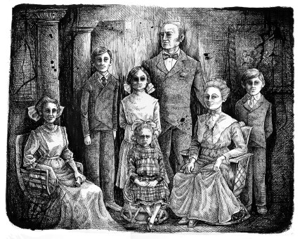 """Family Portrait II. pen and ink, 11""""x14""""."""