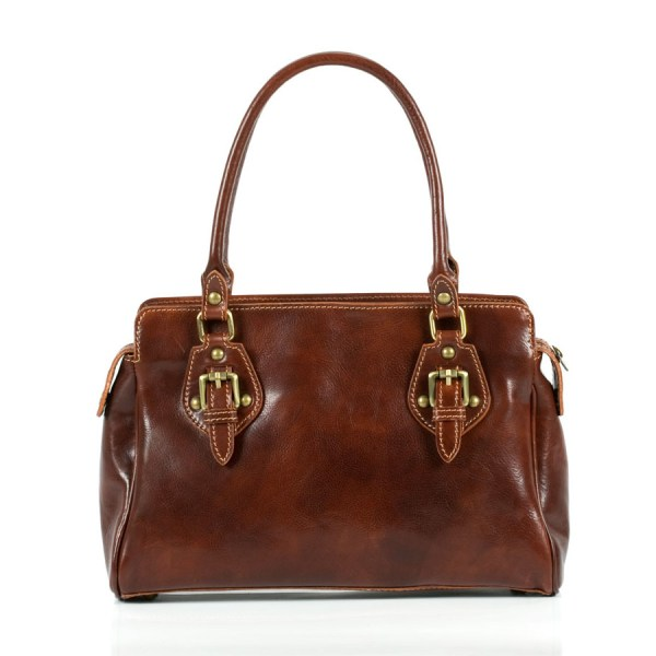 Leather handbag with two handles