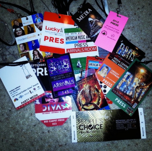 The press passes of the events I went to between 2012 and 2013. [Source: @lindsaybhoffman Instagram]