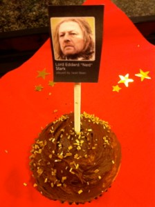 A cupcake with Ned Stark's picture on it.