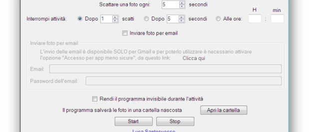 Screenshot di nascosto al PC con Spy Photorgapher