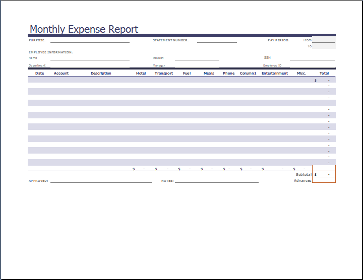 monthly expense report template for excel expense report sheet free