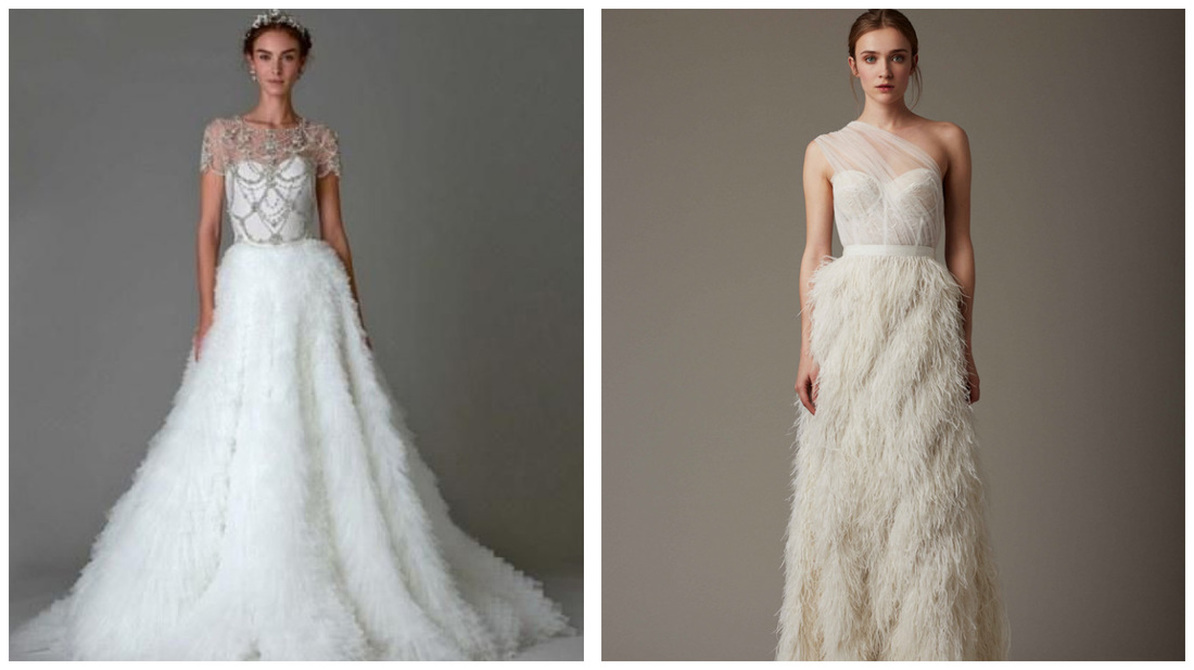 dge wedding trend predictions feathered wedding dress Feathered Wedding Dresses