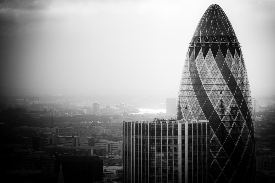 The Gherkin and Greenwich in the distance photographed from atop a building in the City while on an architectural shoot for Mark Jackson.