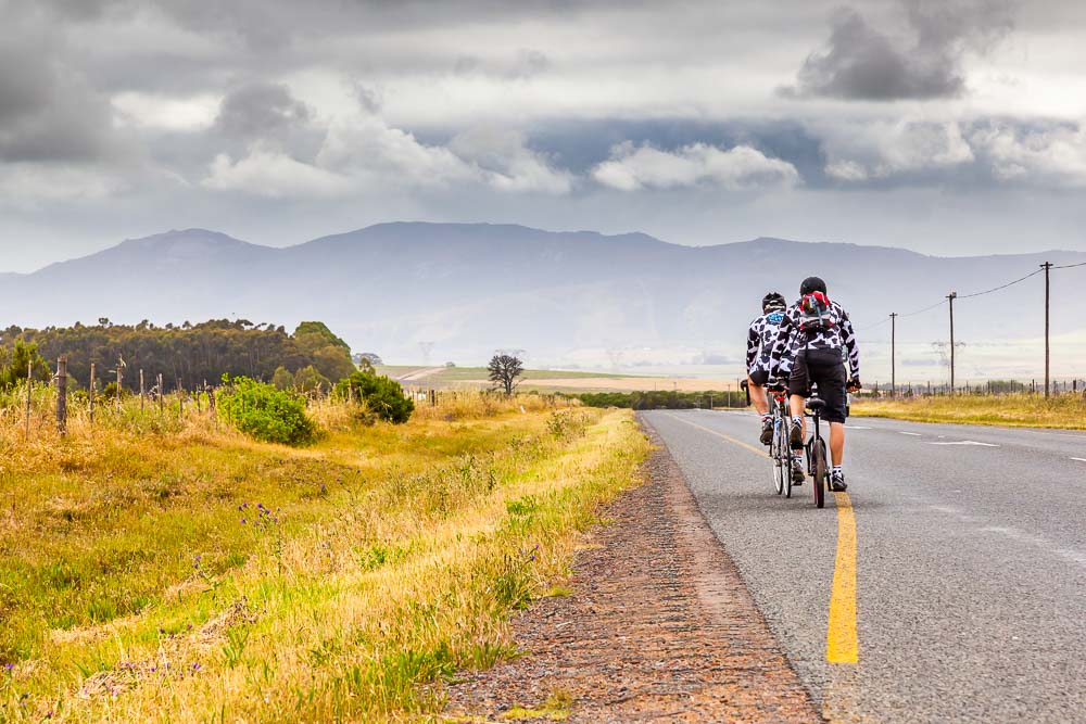 Ryan riding from Cape Town to Wellington en route to Johannesburg.