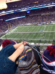 Knitting at the Pats Game | Pigskin Party KAL | Down Cellar Studio