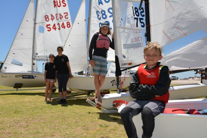 (From left to right) Zoe Hinks, Issy Royle, Harry Mitton and Murphy Cowen are just a handful of the sailors competing in this year's SA Summer of Sail Festival, which will run from Boxing Day through to January 20 on South Australian waters.