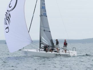 Sandy Higgins on Scorpius continues to set the pace at the Melges 24 nationals. Photos: Ally Graham