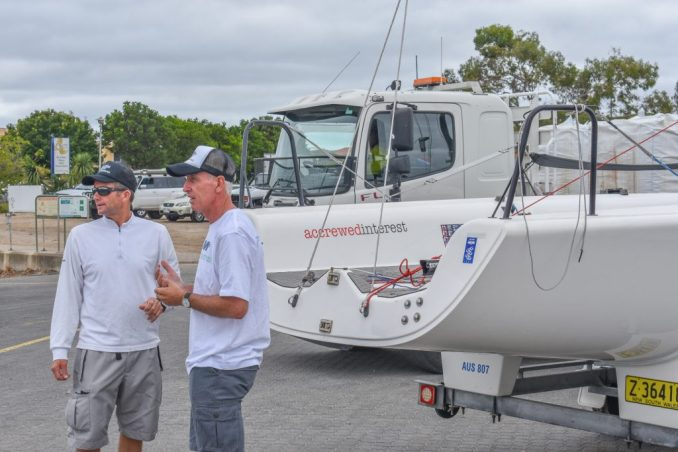 Plenty of chat in the boat park as Melges 24 sailors got ready.