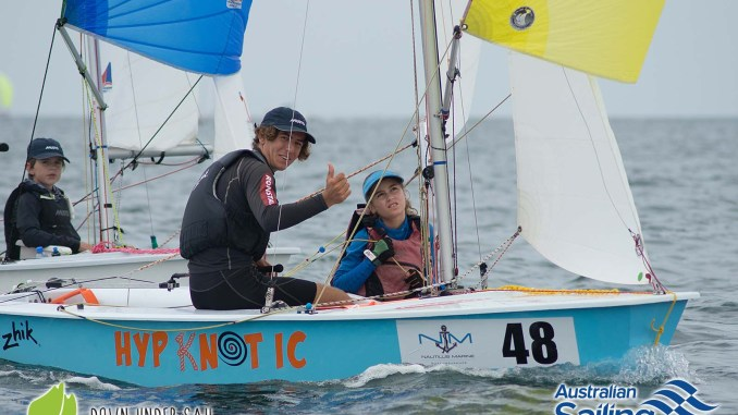 Luke Allison and Zoe Hinks on Hypknotic in the International Cadet fleet last year. Photos: Down Under Sail