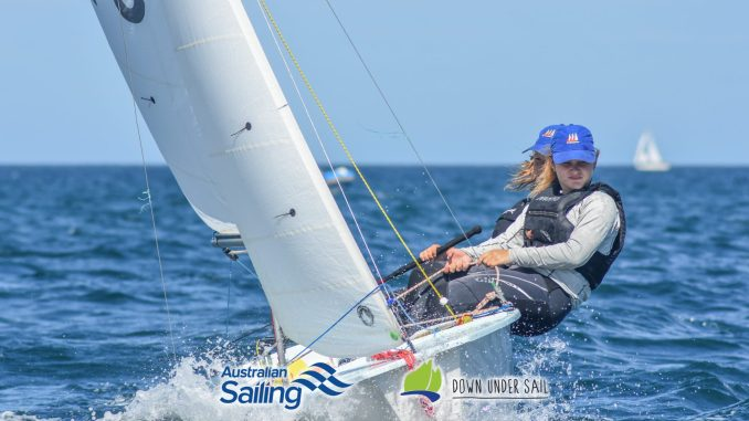 Racing is close in the International Cadet fleet. Photos: Down Under Sail