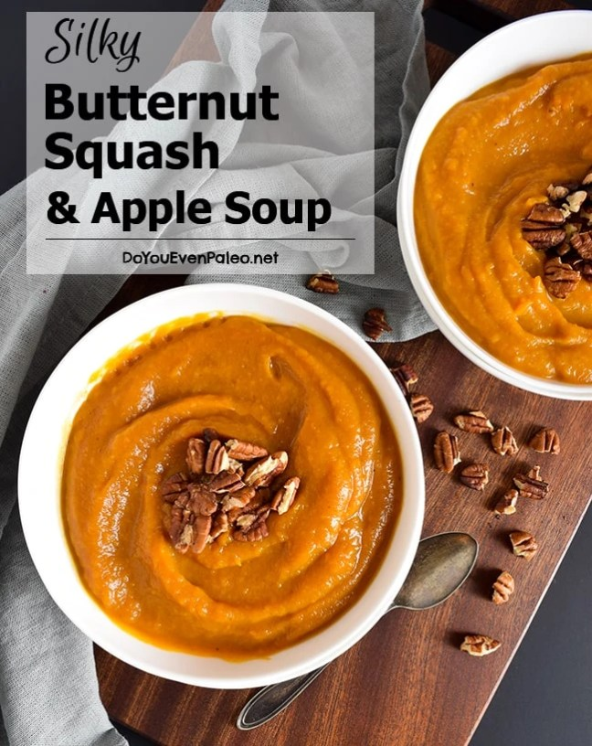 Silky Butternut Squash & Apple Soup with toasted pecans - wholly ...