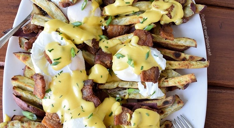 Pork Belly Benedict Smothered Sweet Potato Fries | DoYouEvenPaleo.net