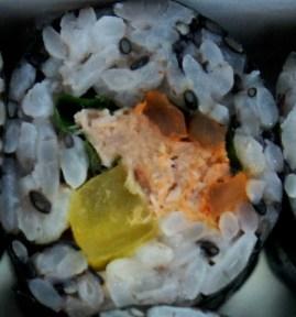 tuna kimbap and yellow radish