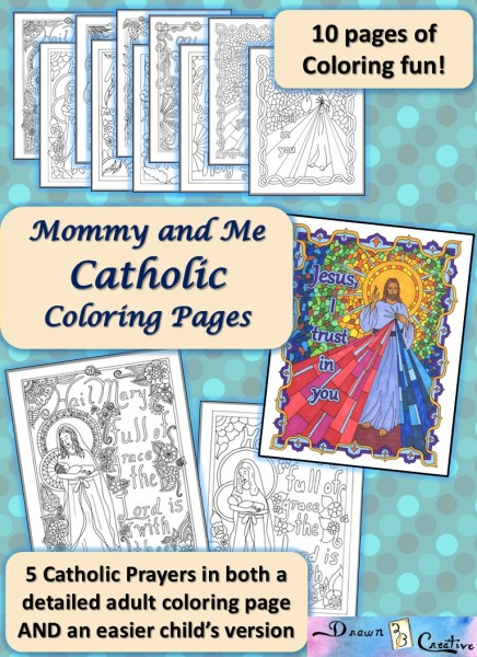 Mommy and me catholic coloring pages drawn2bcreative for Guardian angel prayer coloring page