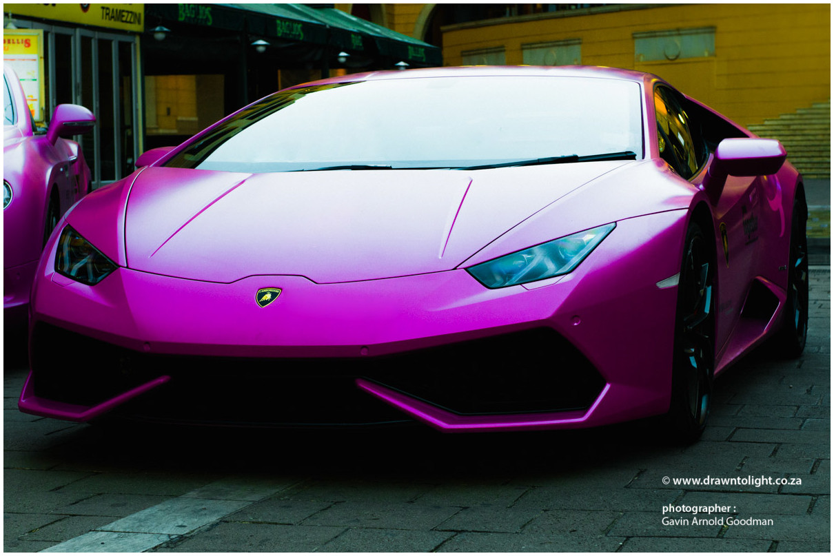 drawntolight pink Lamborghini by Gavin Arnold Goodman