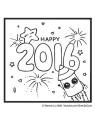 Coloring Page 2016 New Year Rocket