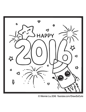 ... Coloring Page 2016 New Year Rocket ...
