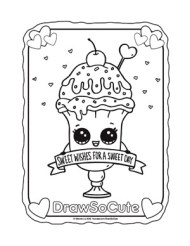 coloring page valentine ice cream sundae