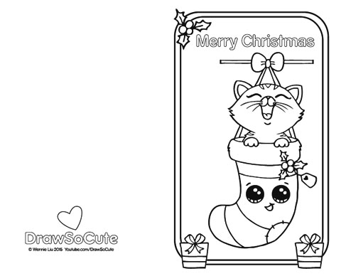 ... Coloring Page Of Christmas Card With Kitten In Stockings