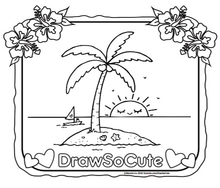 Delightful Hi Draw So Cute Fans! Create Your Own Paradise Island With My Draw So Cute  Island Coloring Page. How Will You Color This?