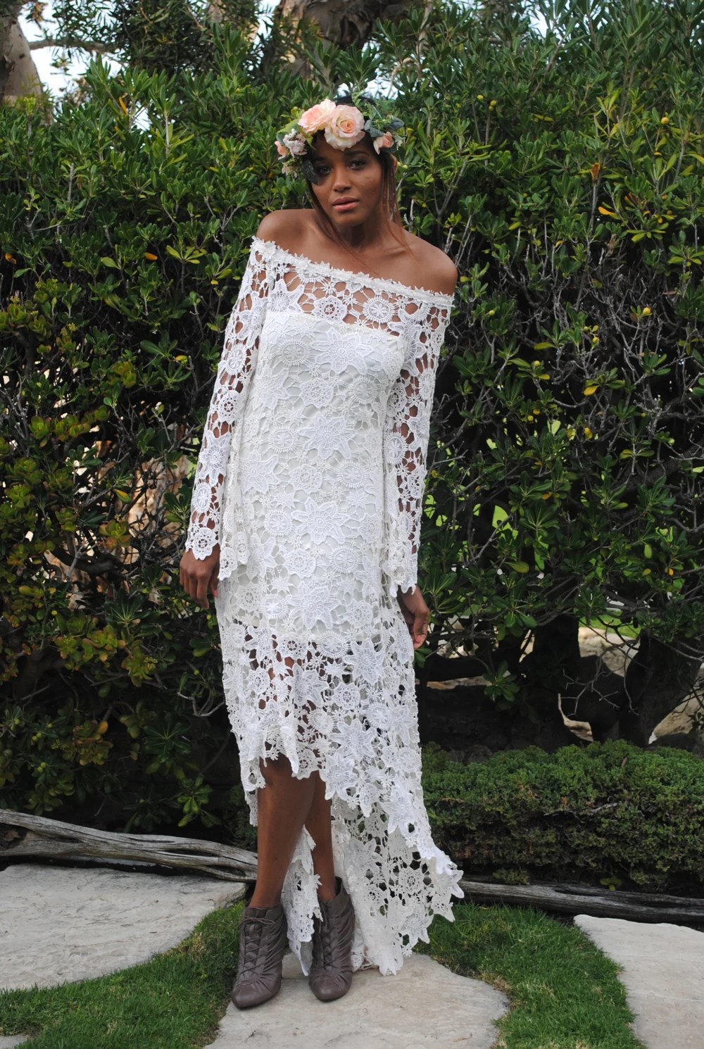 high low bohemian lace dress high low wedding dresses hippie wedding dress off shoulder crochet lace with