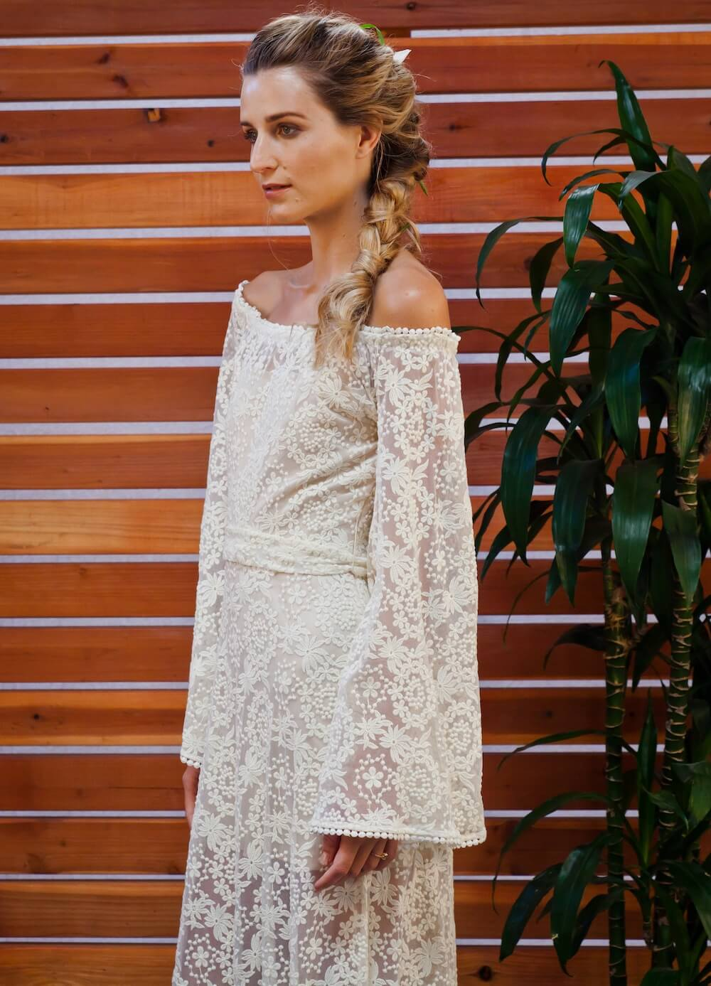 ivory or white bell sleeve boho lace gown with bell sleeves and train bell sleeve wedding dress boho lace bell sleeve 70s style hippie wedding