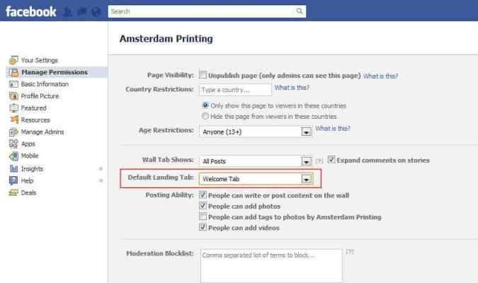 facebook landing tab