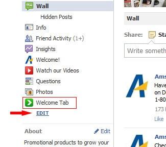 facebook page tab edit