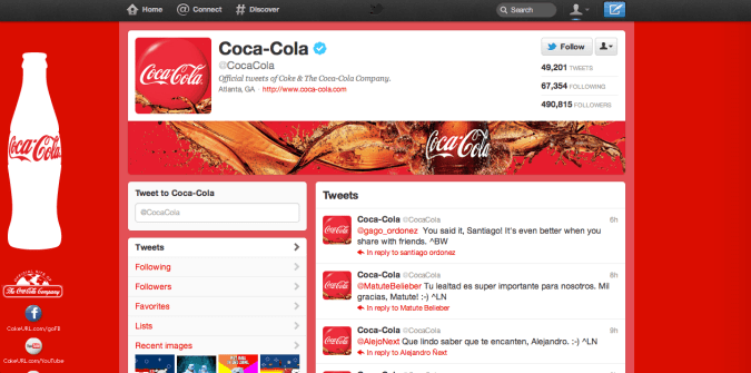 coca cola twitter brand page