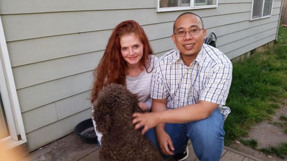 Me and our best friend Chris who is a big part of our family and dogs. Chris owns Toby a 75 lb Goldendoodle with a huge personality
