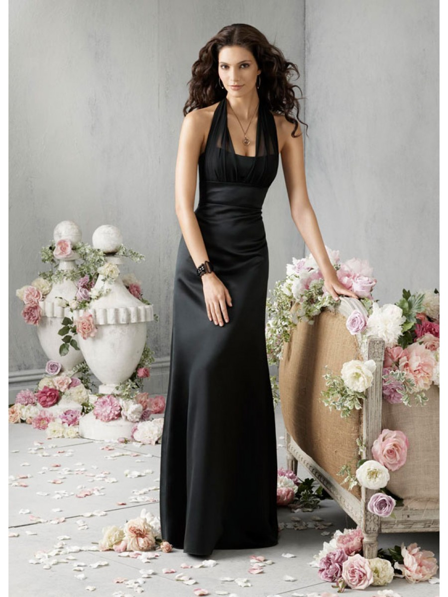long black dresses for weddings black dresses for weddings Black Halter Style Wedding Dresses Empire Waist Chiffon