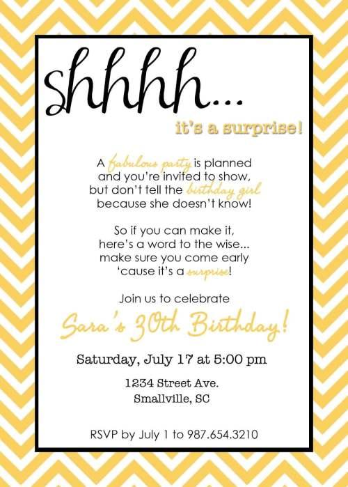 Medium Of Surprise Birthday Invitations